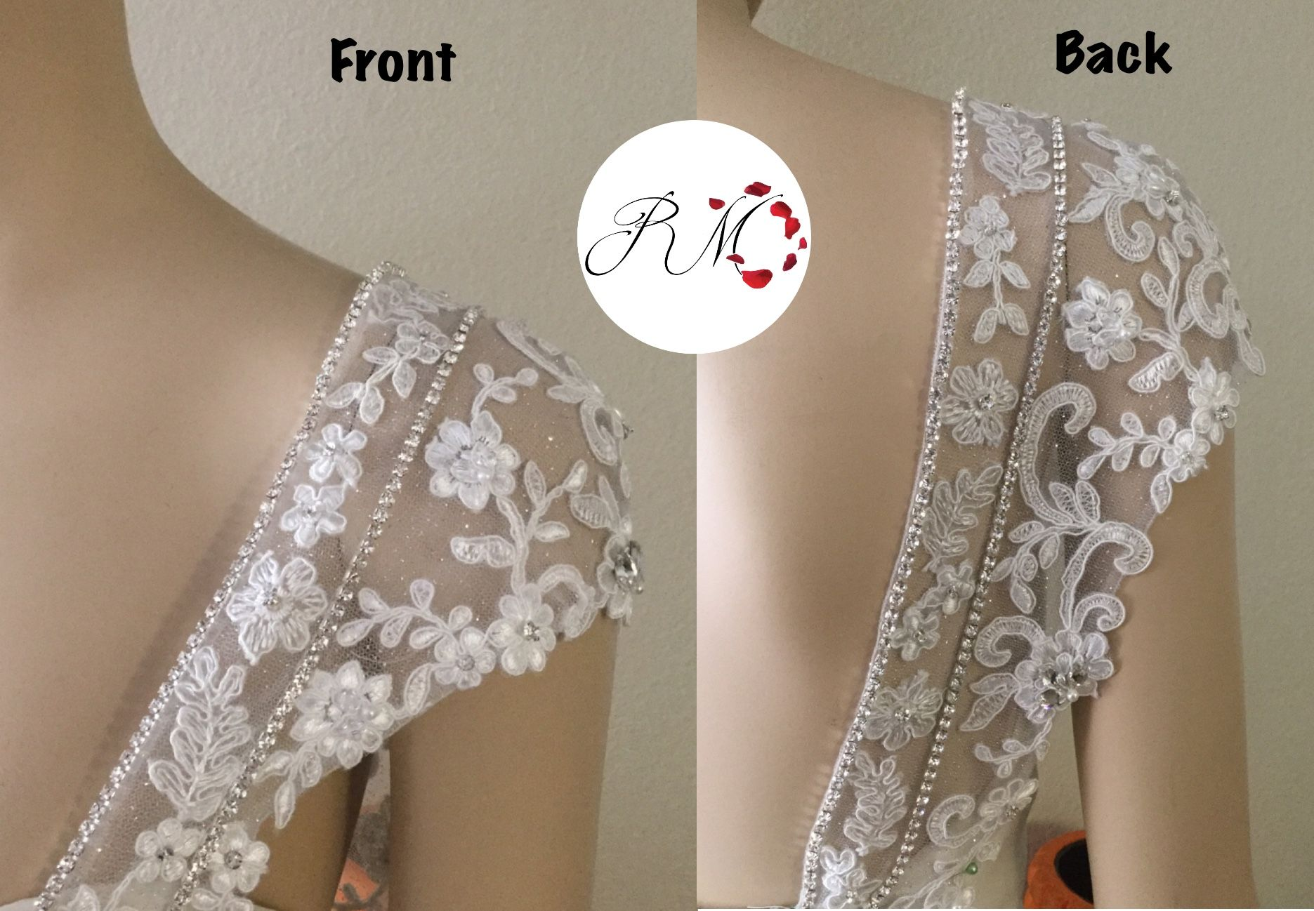 Bridal Straps Cap Sleeves Detachable Wedding Dress Cap Sleeves #112 Custom Sleeves Detachable Straps Detachable Bridal Cap Sleeves