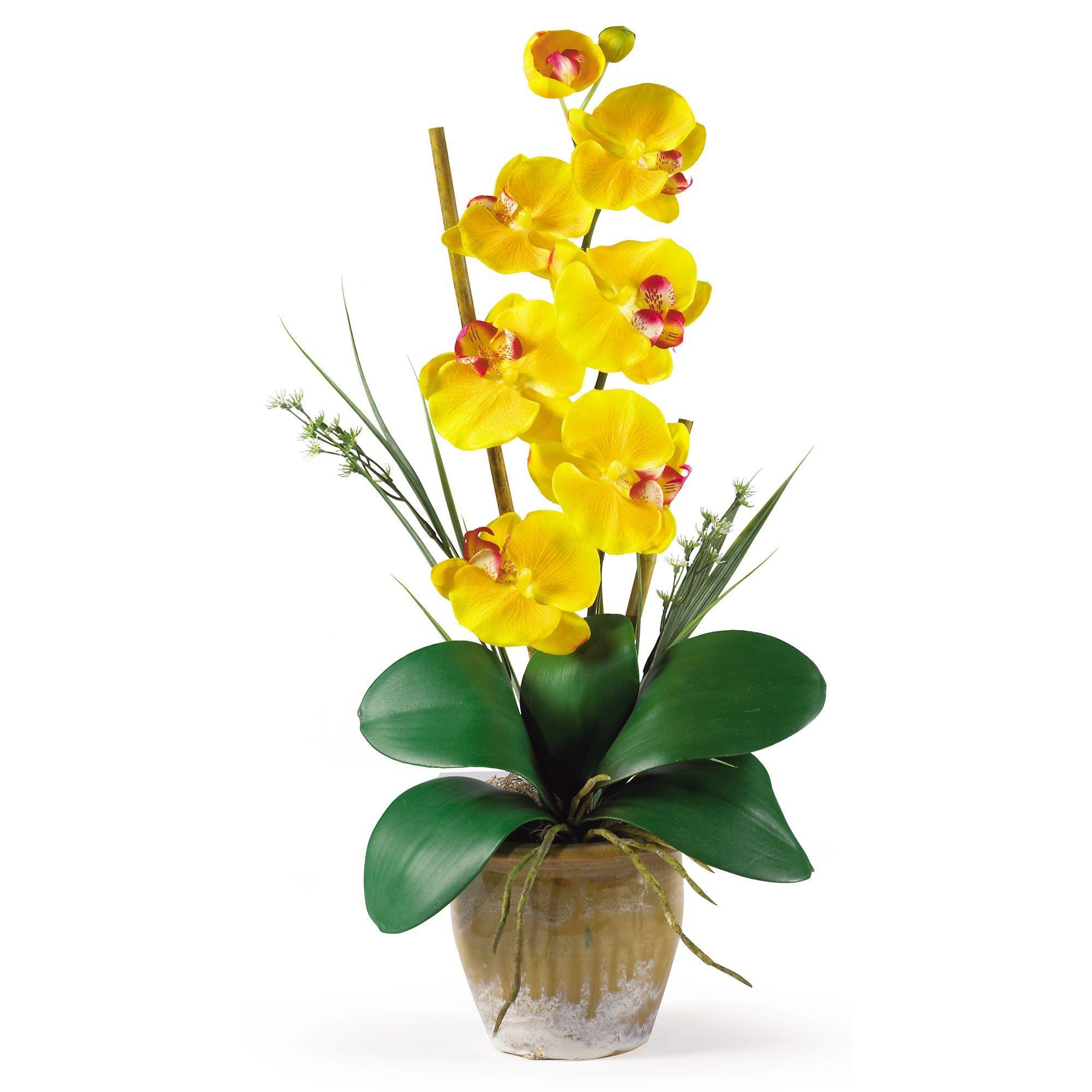 21 H Faux Yellow Single Stem Phalaenopsis Arrangement Com Imagens Arranjos De Flores Artificiais Arranjos De Flores Orquideas Em Eva