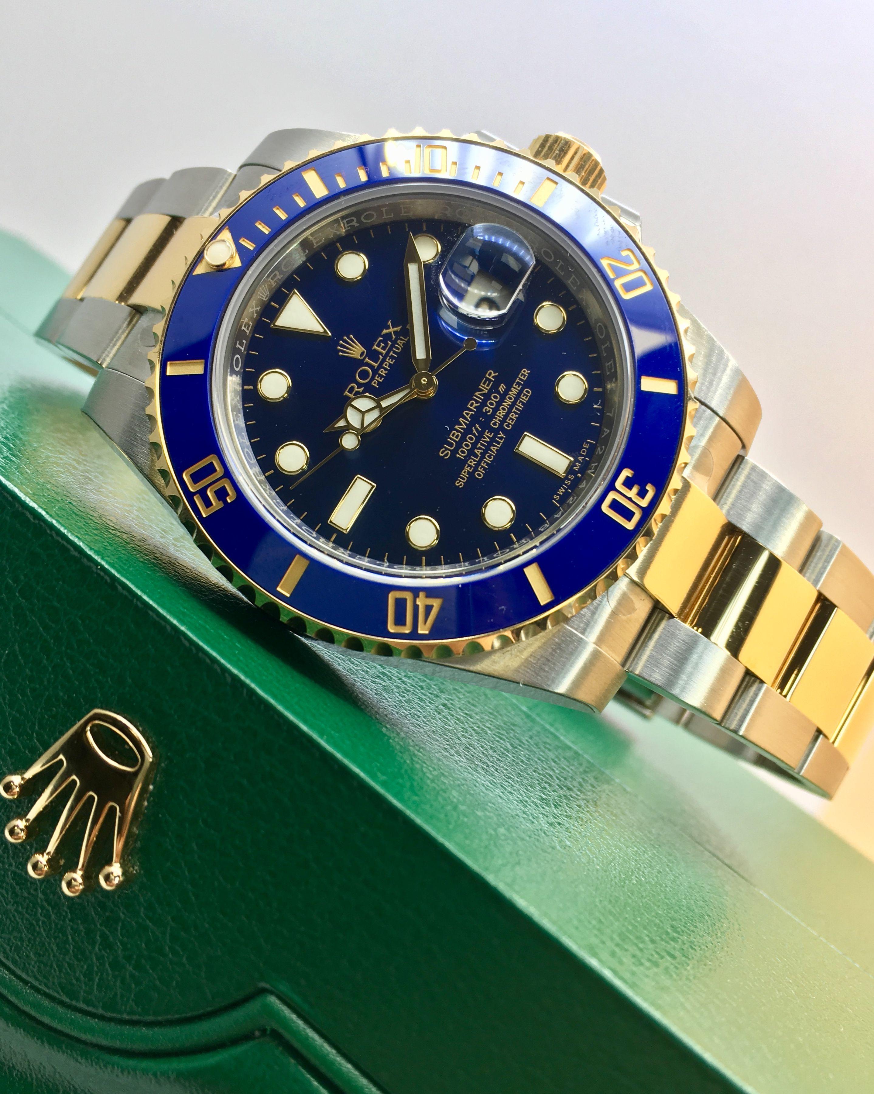 8bcea9543ac Rolex Submariner Steel   Gold Blue 116613LB Relógios De Luxo