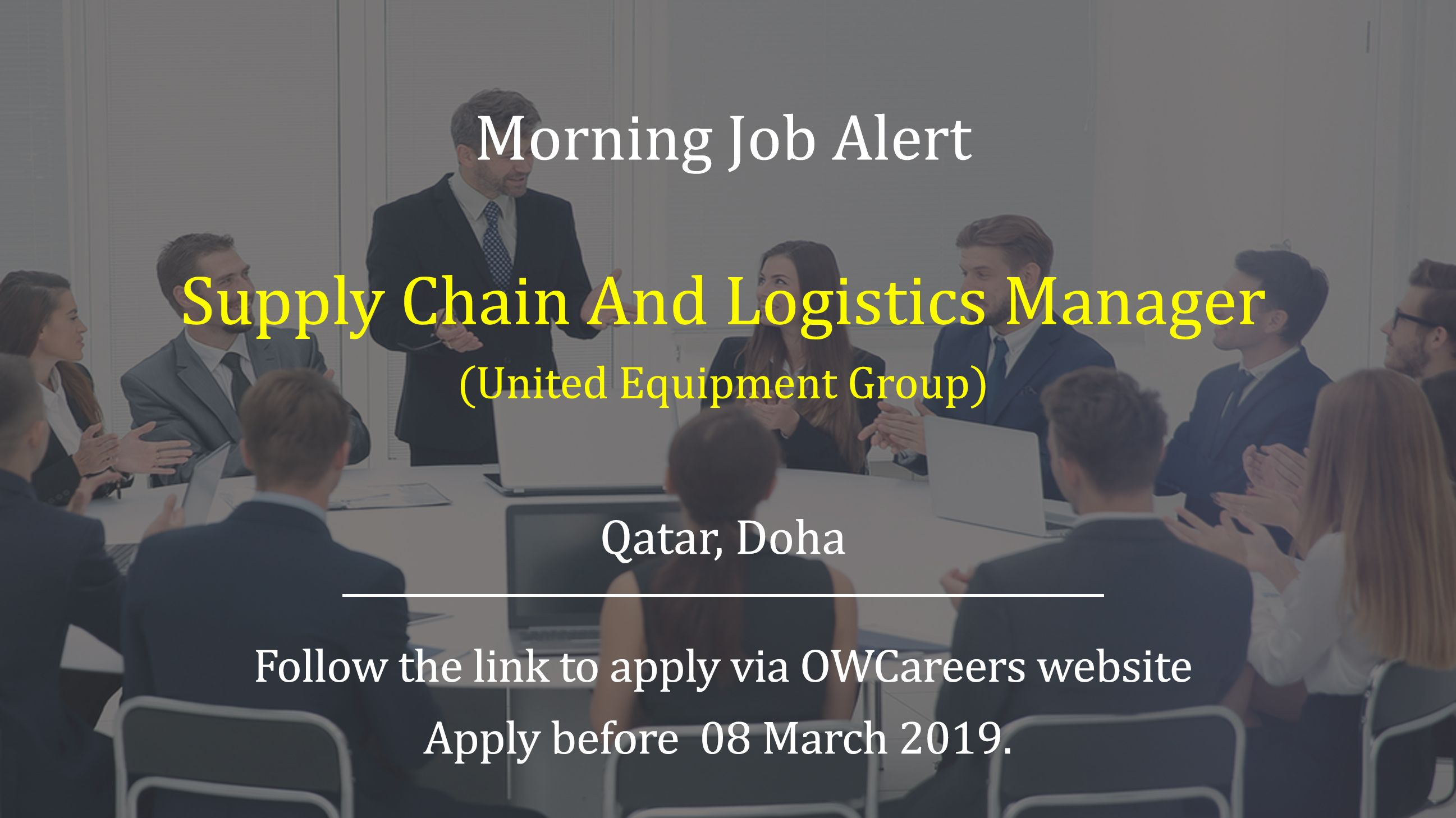 Supply Chain And Logistics Manager Job is available with
