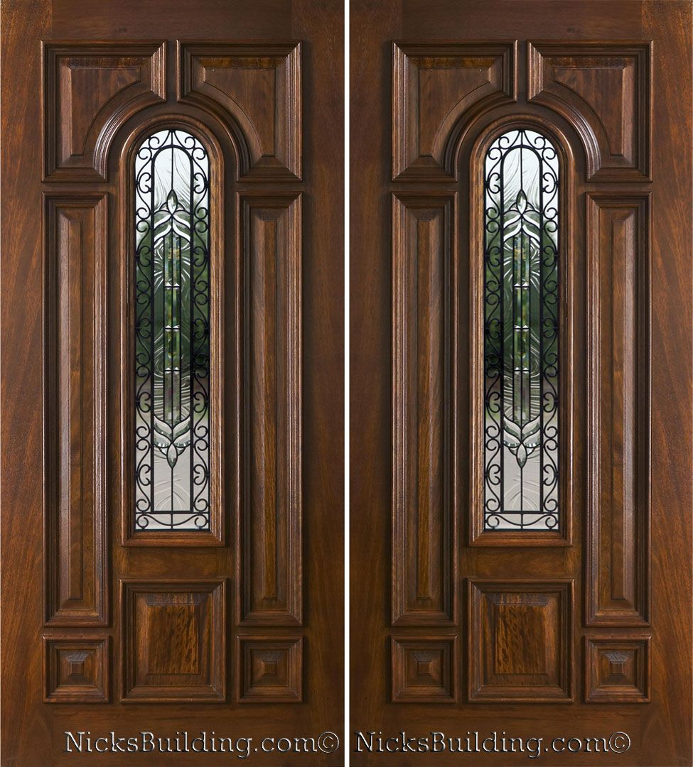 Double front entry doors no windows exterior double for Solid wood front doors