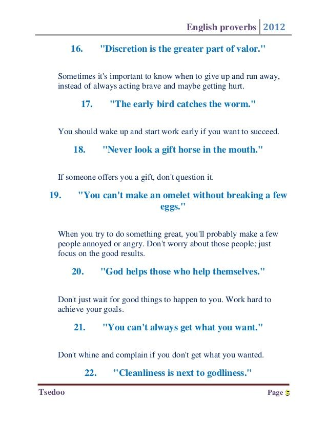 The 50 Most Important English Proverbs Proverb Pinterest