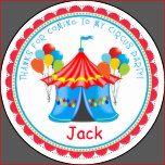 Pegatinas de la fiesta de cumpleaños del carnaval del circo