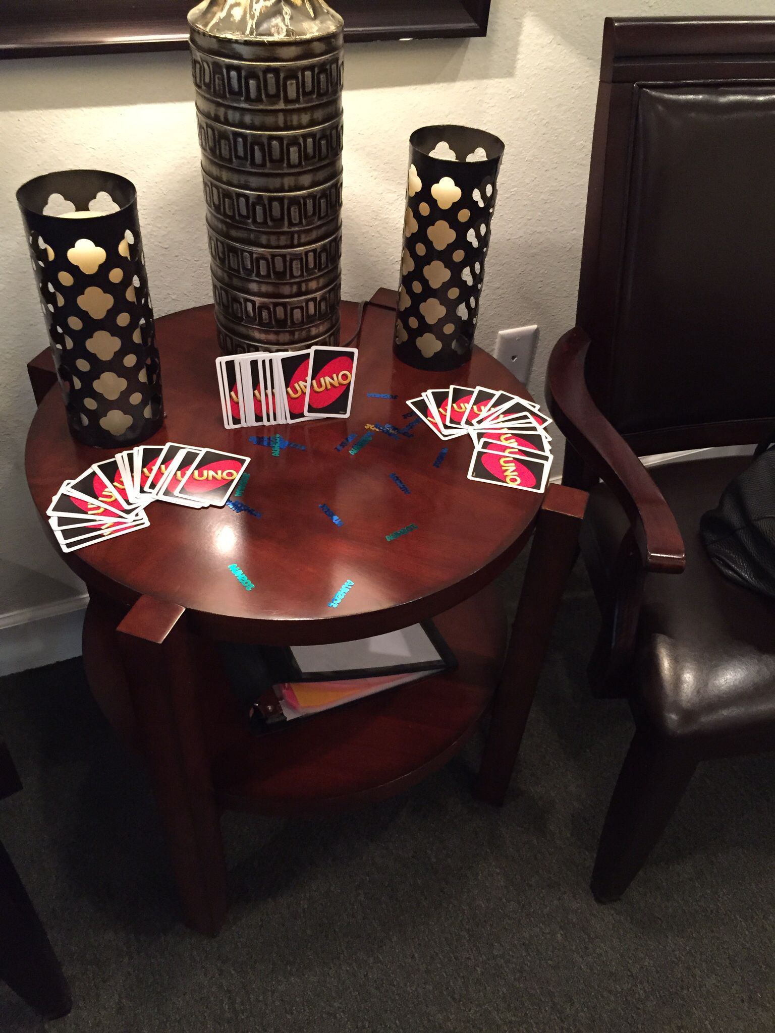 I used uno cards as decorations and Joshua confetti from party