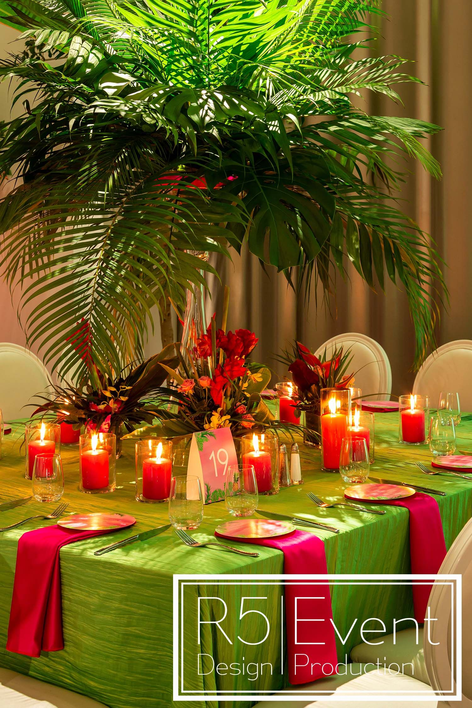 Stunning Tropical Tablescape With Palm Trees, Exotic Flowers And Colourful