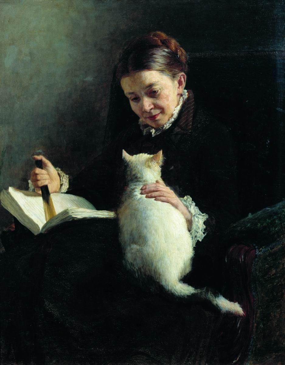 Portrait of a Lady with a Cat. Nikolai Yaroshenko (Ukrainian, 1846-98).