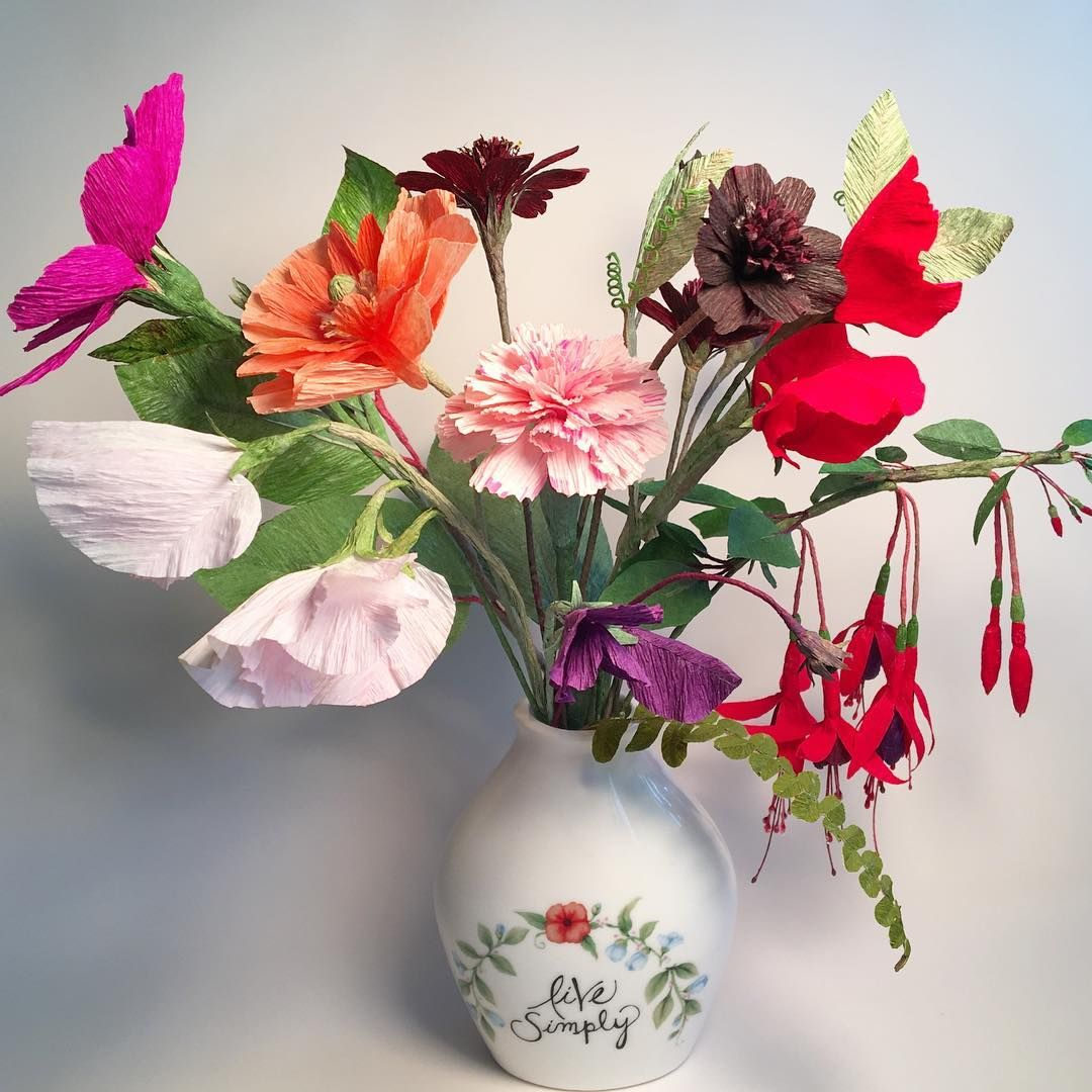 Paper Flower Bouquet With Cosmos Sweet Peas Spanish Poppy Chocolate Cosmos Hardy Fuchsia Paper Flower Bouquet Beautiful Flower Arrangements Paper Flowers
