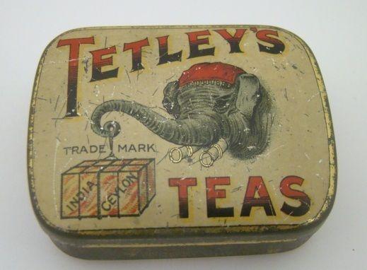 Antique Tetleys Teas Sample Advertising Elephant Tin