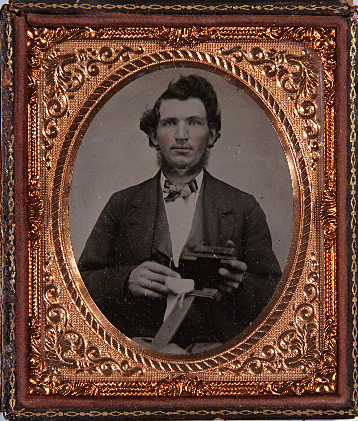 PHOTOGRAPHER POLISHES PLATE Early Occupational 6th Plate Ambrotype | eBay