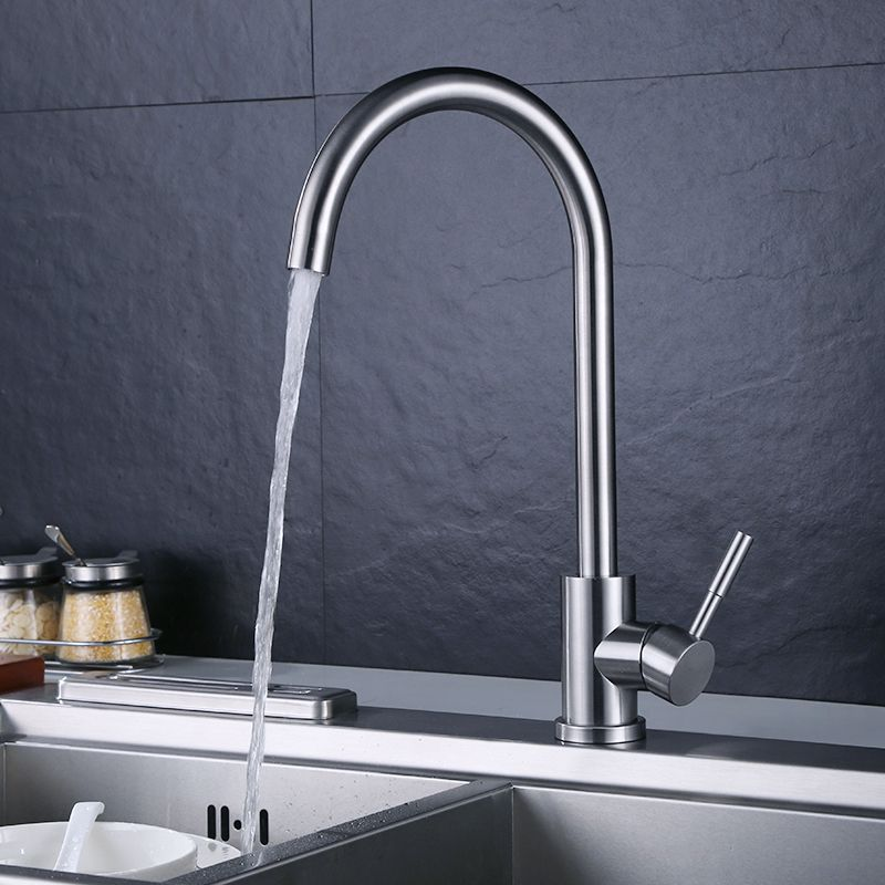 Steel Kitchen Hot And Cold Taps Washing Dishes Single Cold