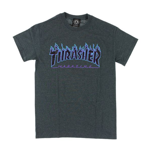 Thrasher Flame Logo Dark Heather T-Shirt ❤ liked on Polyvore featuring  tops 7cabc8daa127f