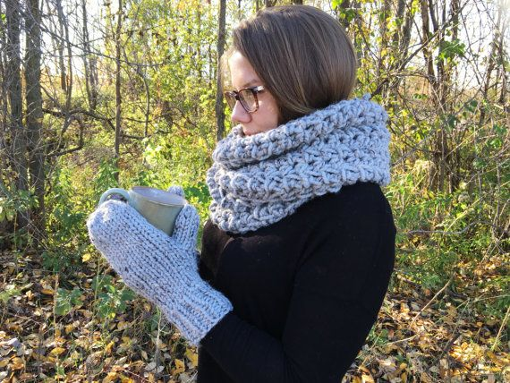 Chunky Infinity Scarf and Mittens Set  Choose by ShopABCrochet