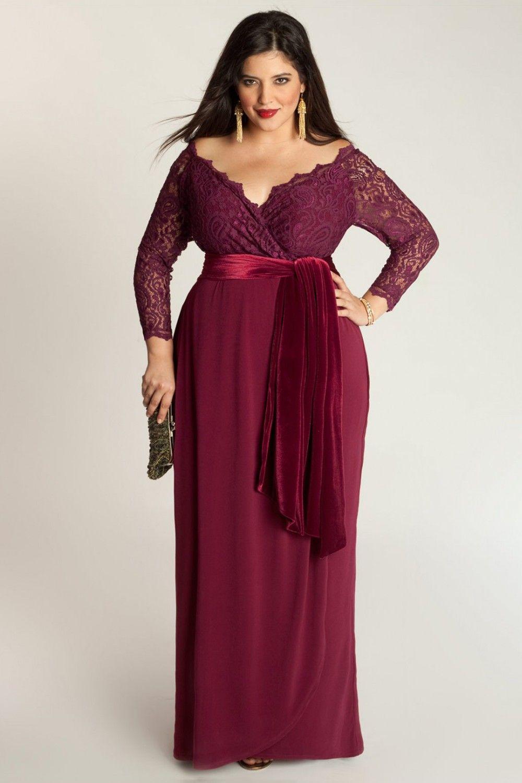 Fashion Burgundy Chiffon Floor-Length Plus Size Dress DWD15