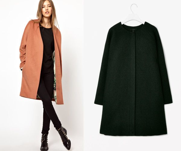 collarless coat | Looks to try out | Pinterest | Coats