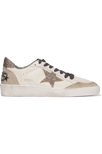 c76a6a2fe Golden Goose Deluxe Brand - Super Star Glittered Distressed Leather And  Suede Sneakers - White