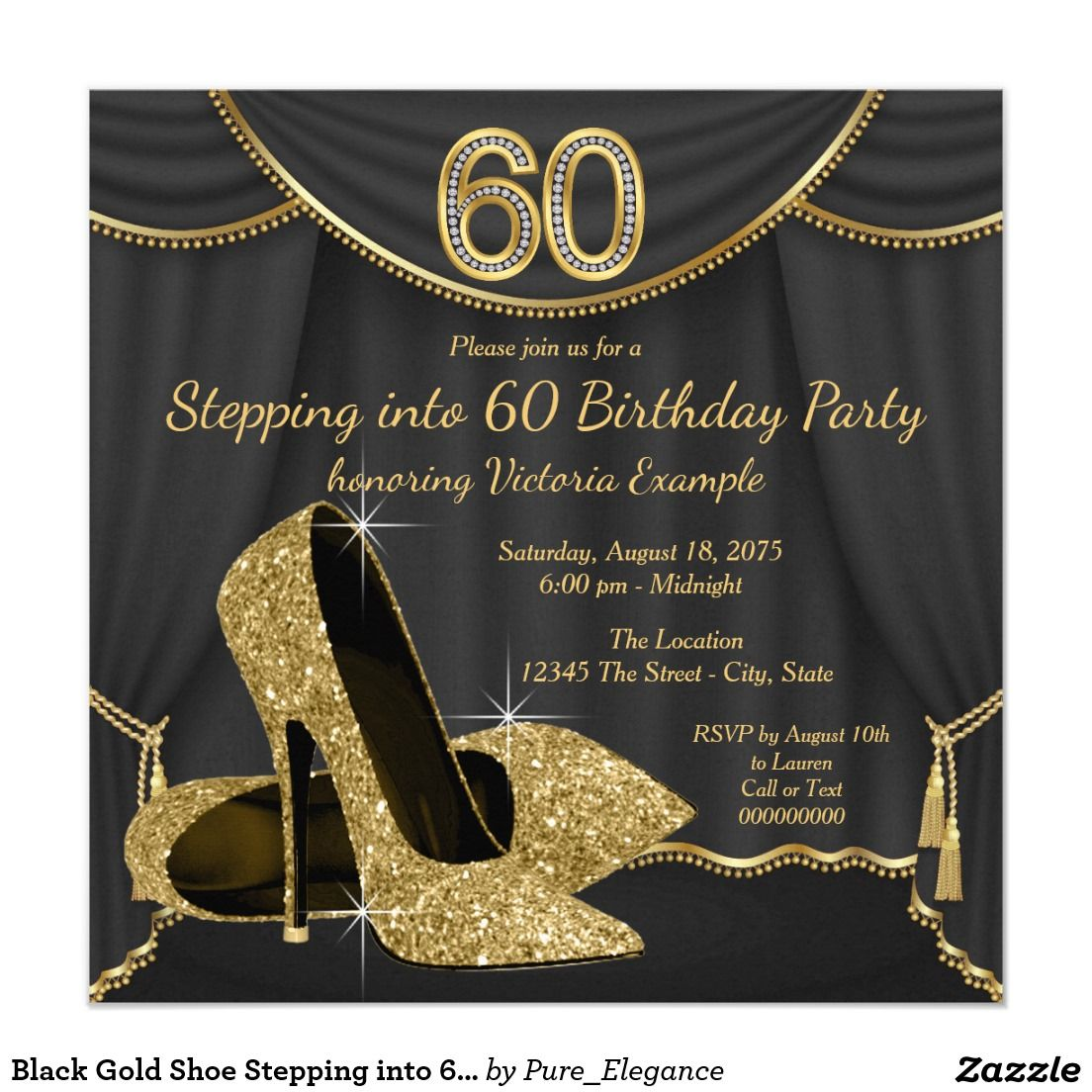 Black Gold Shoe Stepping into 60 Birthday Party Card – Shoe Party Invitations
