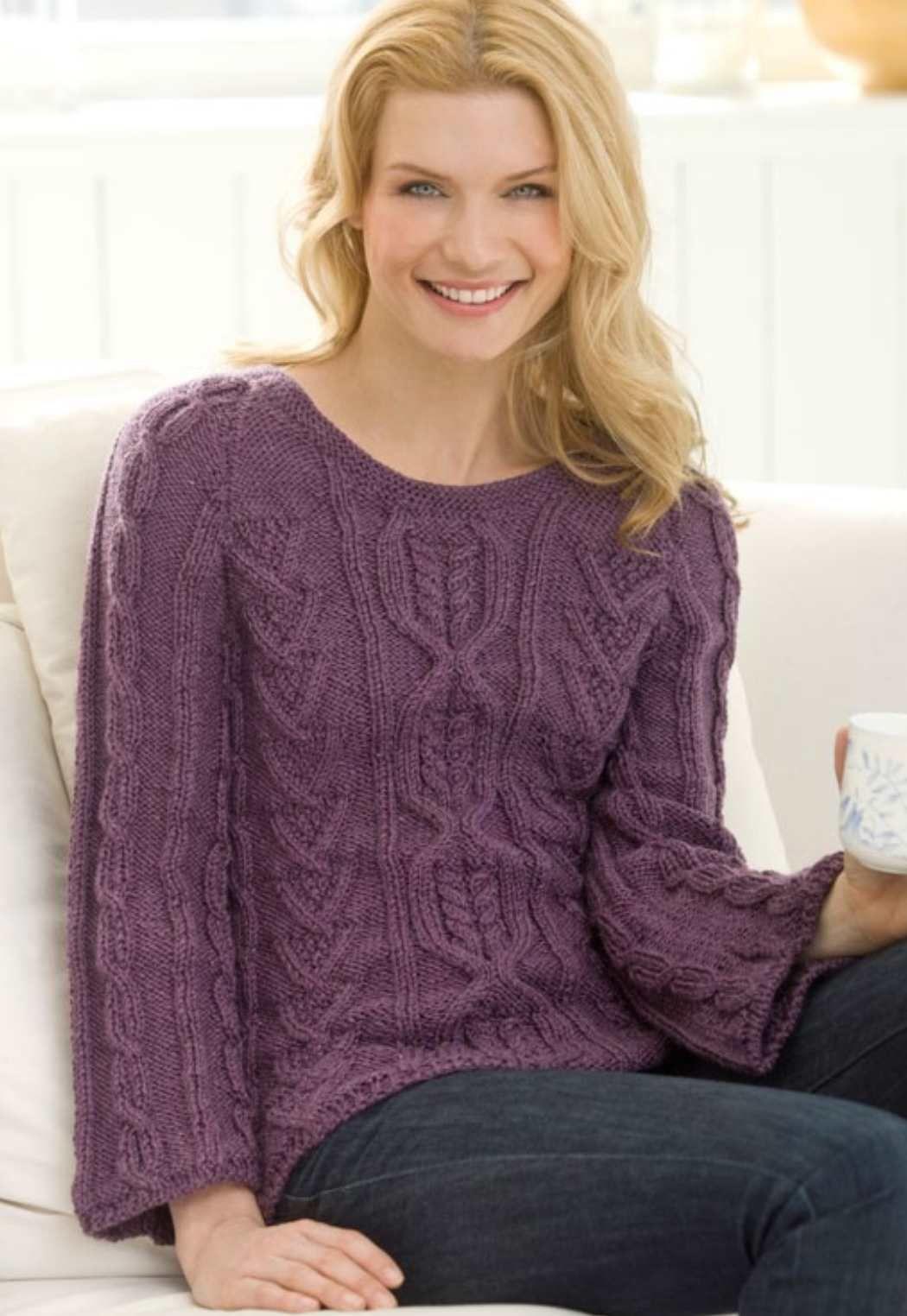 New Aran Sweater Free Knitting Pattern | Aran sweaters, Knitting ...