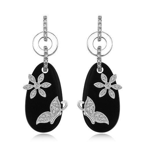 14k White Gold Fancy Onyx Diamond Erfly Flower Earrings