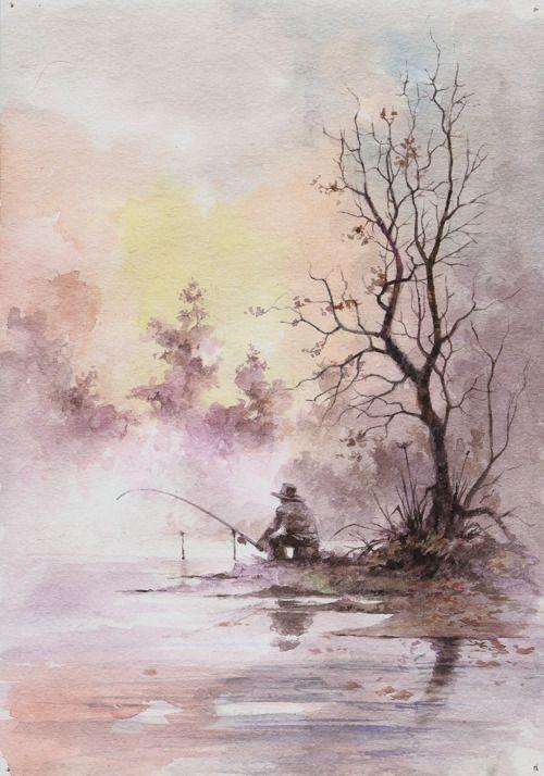 watercolour Baum Landschaft Person Angler Nebel See Fluß