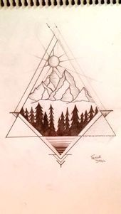 Photo of Geometric mountain tattoo by me:)                                               …