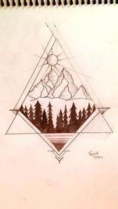 Photo of Geometric mountain tattoo by me:)                                               …
