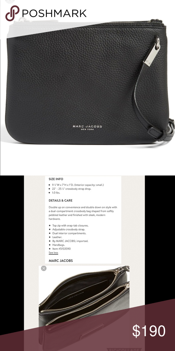 d721562a6cb9 Marc Jacobs leather crossbody Beautiful black pebbled leather Marc Jacobs  crossbody with double compartments. Gently used in great condition Marc By  Marc ...