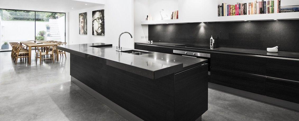Open Plan Contemporary Black Kitchen Design