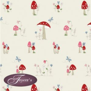Fryetts 100% Cotton Print PVC TOADSTOOL Vinyl Oilcloth Tablecloth 132cm Wide