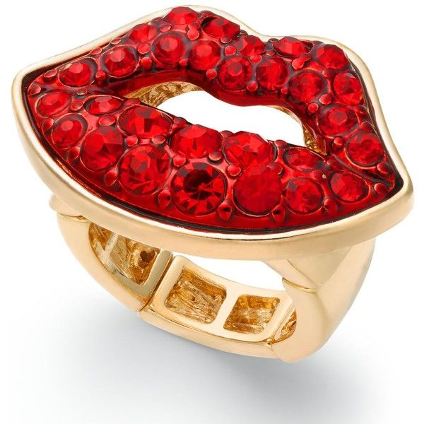 Thalia Sodi Gold Tone Red Crystal Lips Stretch Ring Created For