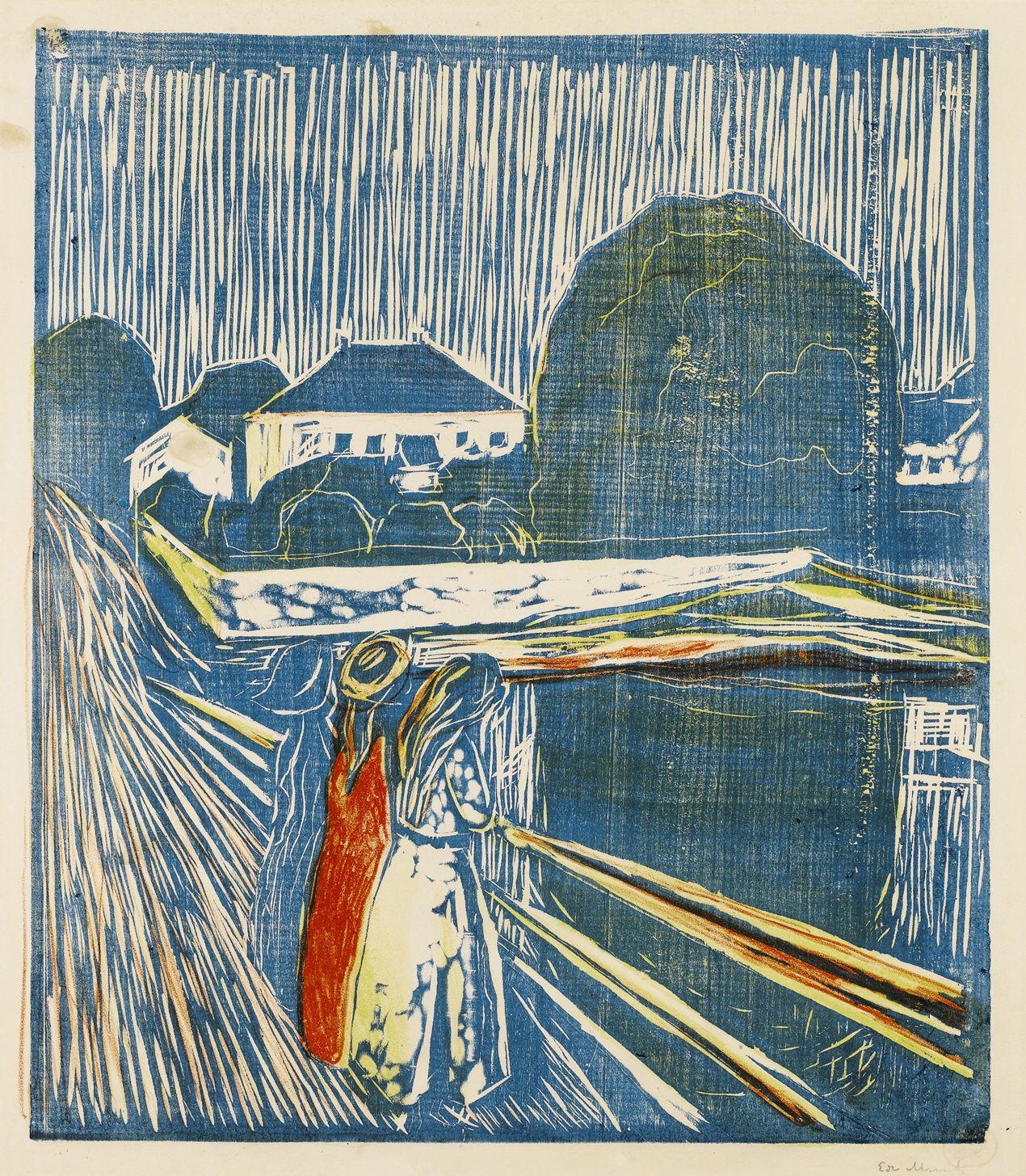 Edvard Munch (Norwegian:1863–1944) – The Girls on the Bridge, 1918. Woodcut printed in blue, red, orange and yellow, the third (...