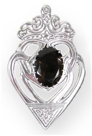 Luckenbooth pin w/smoky quartz.  this Scottish love token goes back to at least the 1600s. Luckenbooths were traditionally exchanged between lovers on betrothal. They were later pinned to the shawl of the first baby to protect it from evil spirits.