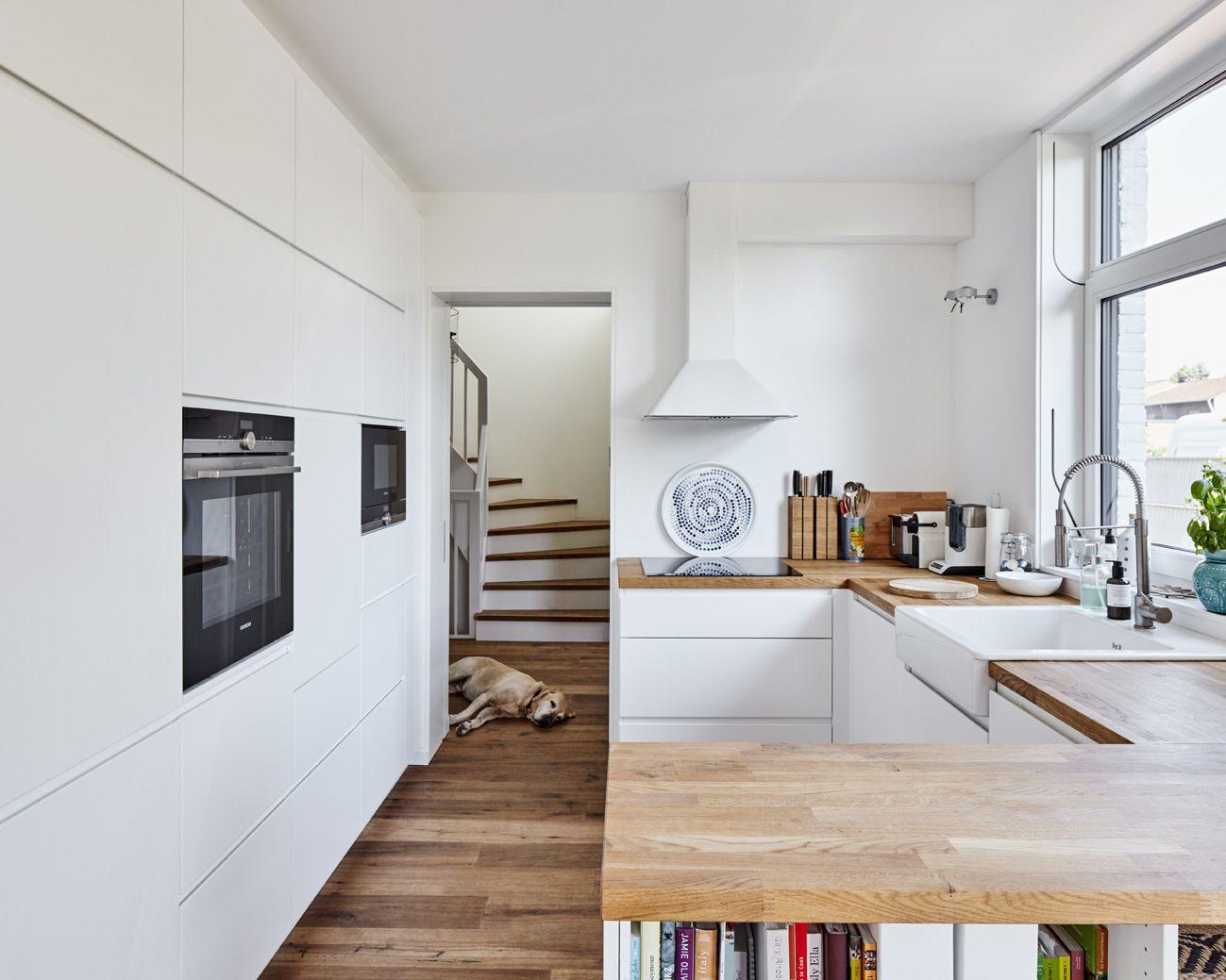 Küche, Arbeitsplatte, Holz, Spülbecken, Herd, Ofen, Treppe ...