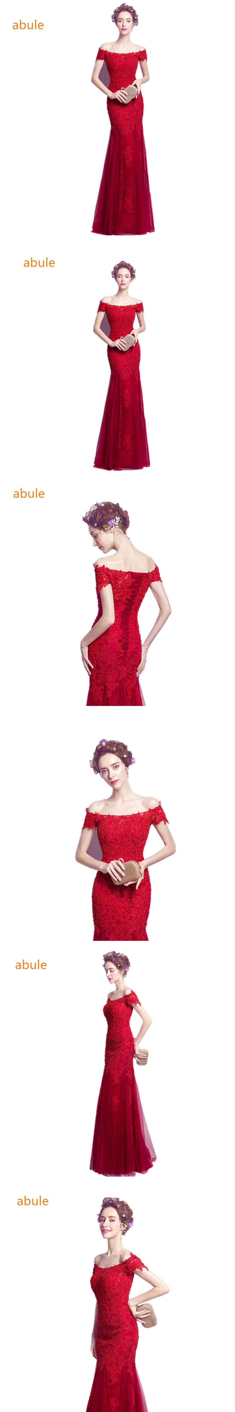 Abule royal red burgundy long evening dress beads pearlsl lace
