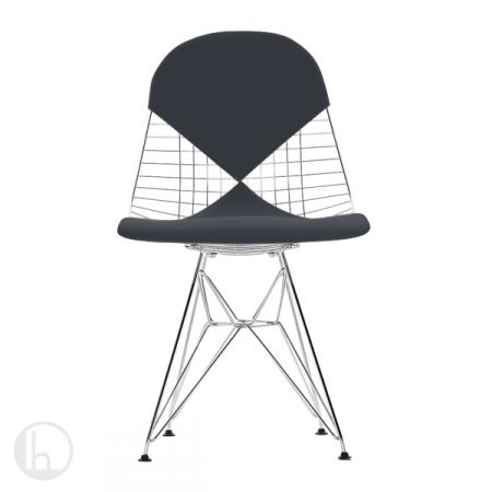 Vitra Wire Chair DKR-2 by Charles  Ray Eames in leather marron