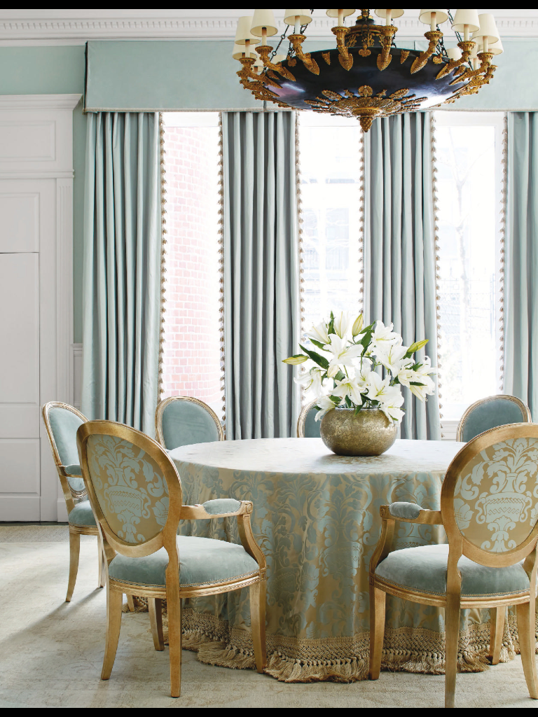 The Dining Room Teases With A Color That Is Not Quite Blue Green On An Oversize Silk Damask Skirts Table And Backs Chairs