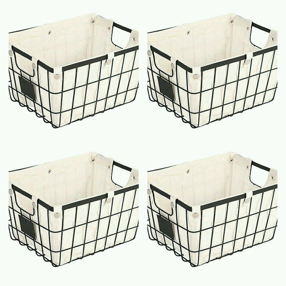 Rustic Black Metal Basket Lined Crate Chalkboard Storage Organizer ...
