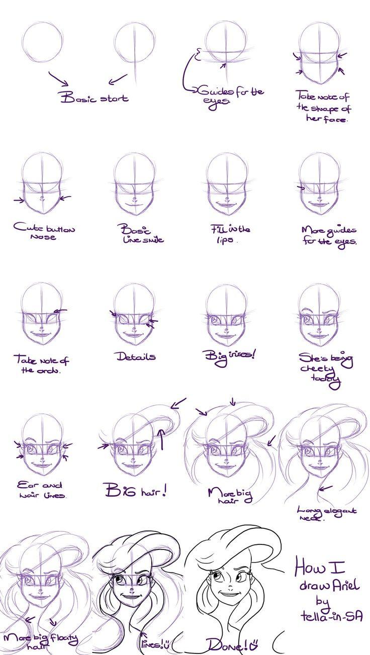 Character Drawing Disney Drawing Tutorial Disney Drawings Ariel Drawing