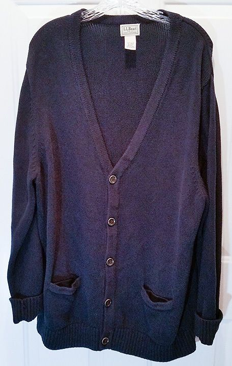 Mens Navy Blue LL Bean XL Classic Cardigan Sweater 100% Cotton ...