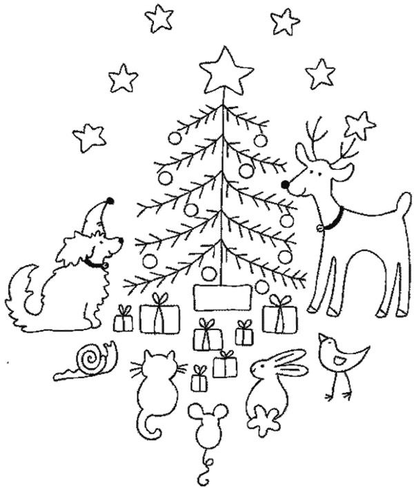 animal christmas eve coloring page