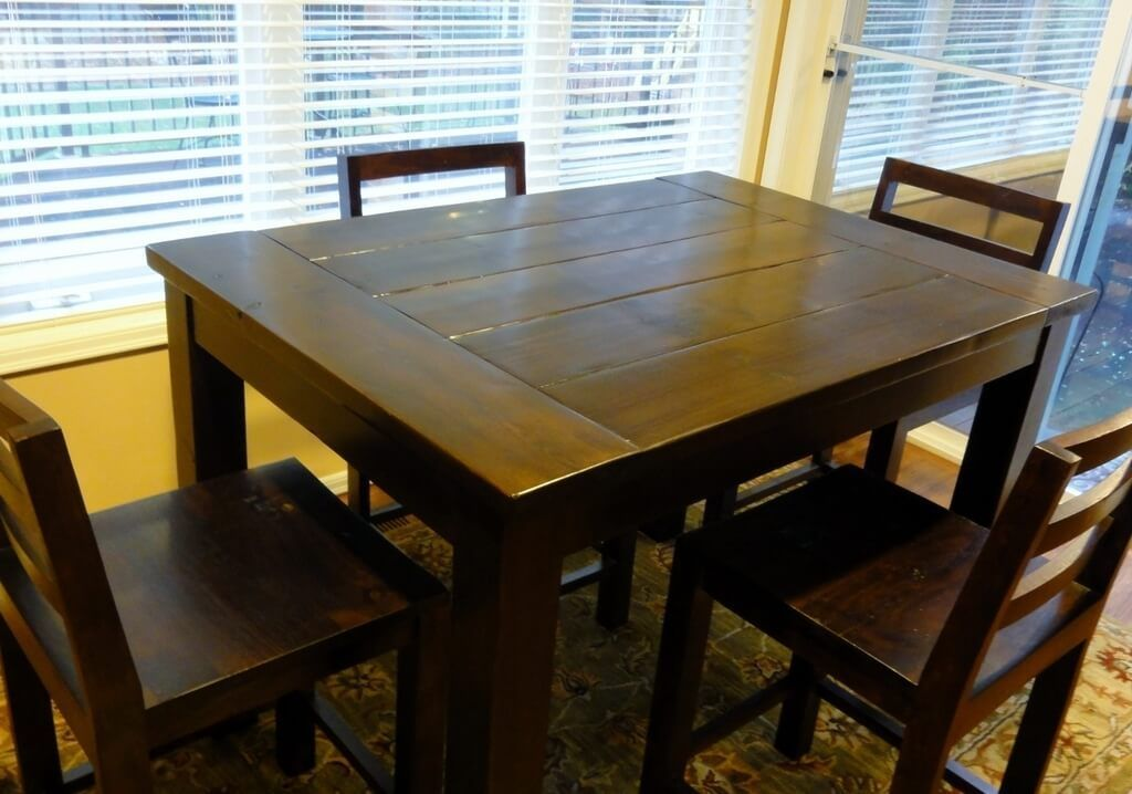 Dining Room: Espresso Finish Tall Kitchen Table And Chairs ...