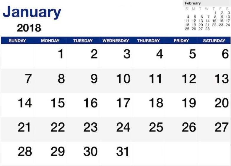 Calendar January 2018 Word Document Calendar January 2018 Word