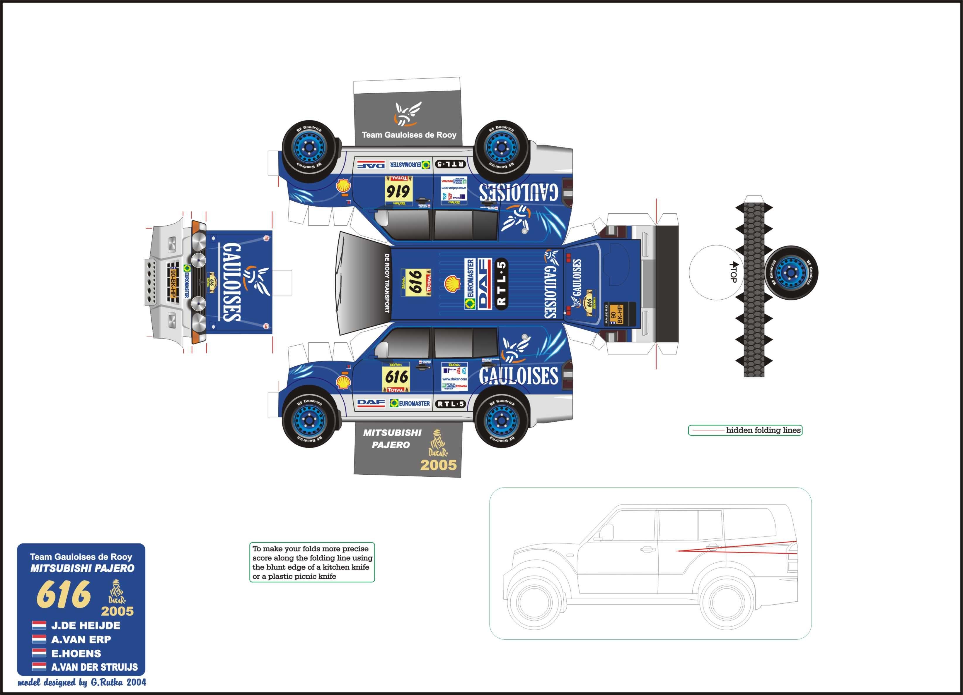 Papercraft Racing Trucks Uitdaging Spanning Extreem
