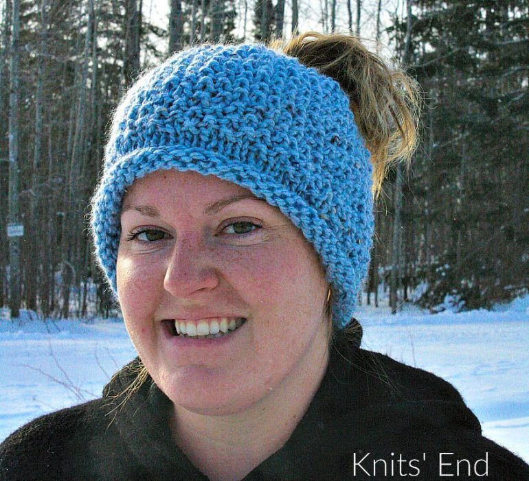 Seed Stitch Messy Bun Hat Knitting Pattern available for free ...