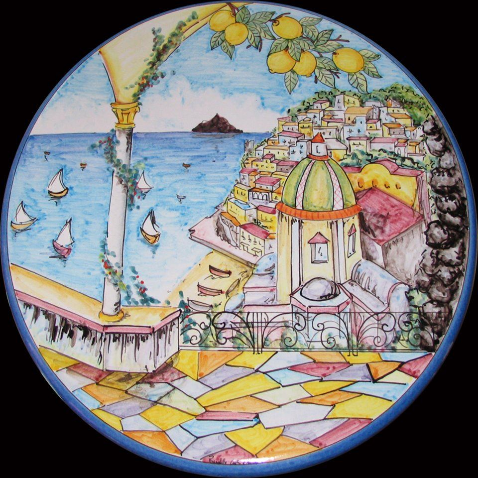 Lovely Positano! Bright and colorful large wall plate | ITALIAN ...