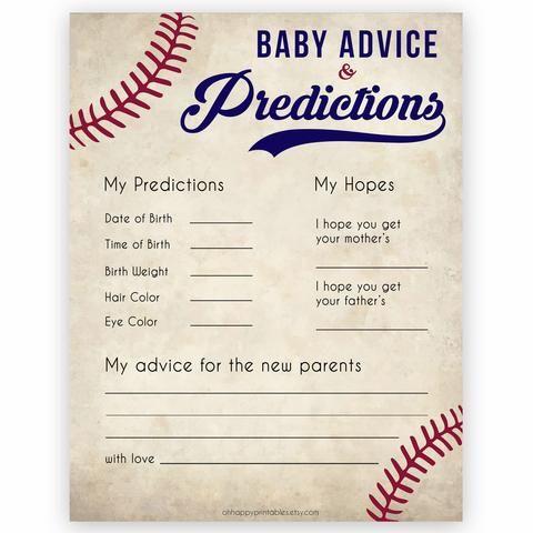 Baby Advice & Predictions Card – Baseball