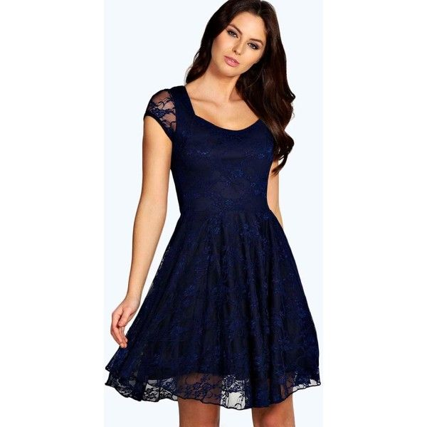 c1d8e15fe9f9 Boohoo Caroline Cap Sleeve Lace Skater Dress ( 26) ❤ liked on Polyvore  featuring dresses