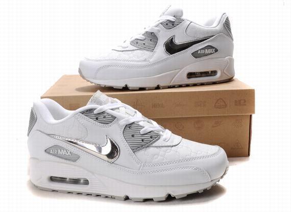 White Silver Mens Nike Air Max 90 Fashion Shoes 65629