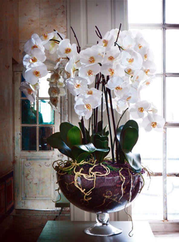 Decoracion con orquideas artificiales buscar con google - Decoracion de jarrones con flores artificiales ...