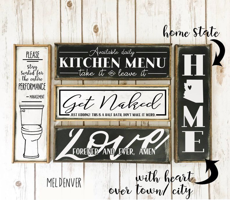 Rustic Long Narrow Farmhouse Signs You Choose Kitchen Bathroom Funny Pantry Laundry Classic Wooden Sign Kitchen Humor Farmhouse Signs Wooden Signs
