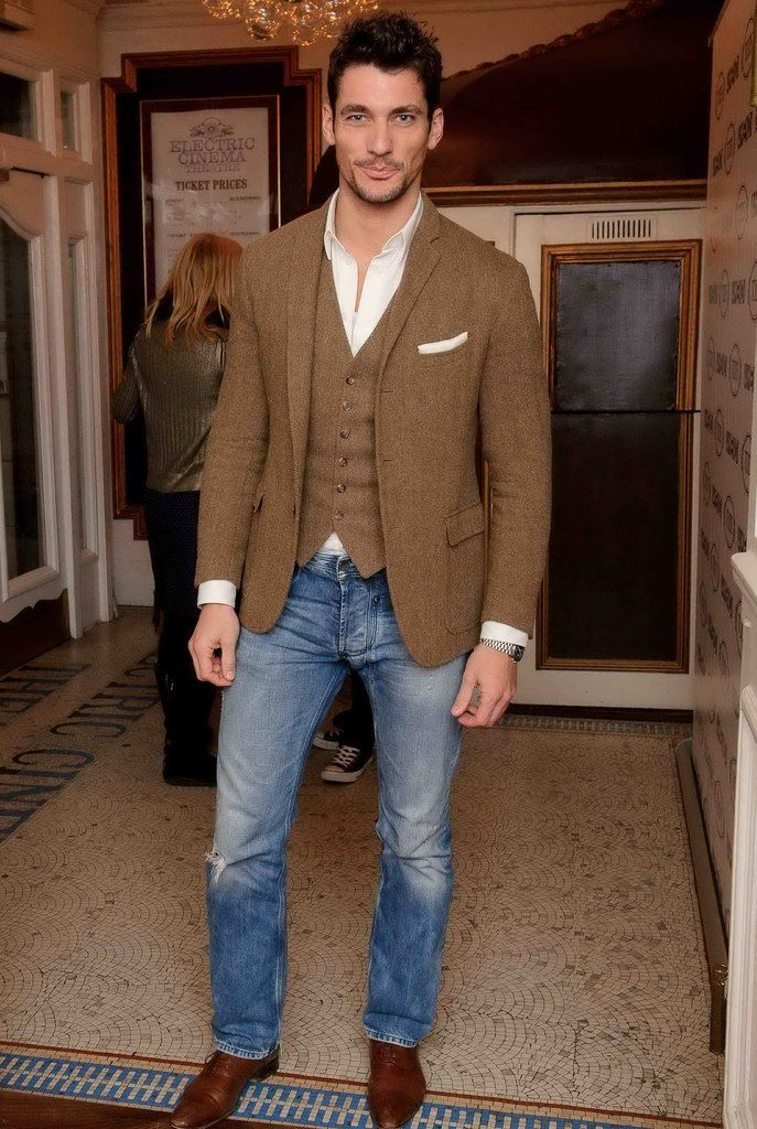 David Gandy wearing Brown Wool Blazer, Brown Wool ...